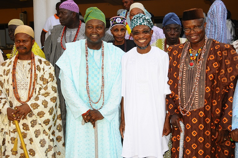 Governor State of Osun, Ogbeni Rauf Aregbesola (2nd right); Alademore of Ibokun, Oba Festus Awogboro (right); Owamiran of Esa-Oke, Oba Adeyemi Adediran (2nd left); Olomu of Ijaregbe,Oba Edward Adetimo (left) and others, during a Courtesy Visit by the Ijesa North Traditional Council to the Governor in Government House, Osogbo, State of Osun on Thursday 20-03-2014