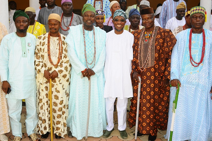Governor State of Osun, Ogbeni Rauf Aregbesola (3rd right); Commissioner for Local Governments and Chieftaincy Affairs, Barrister Kolapo Alimi (left); Alademore of Ibokun, Oba Festus Awogboro (2nd right); Owamiran of Esa-Oke, Oba Adeyemi Adediran (3rd left); Olomu of Ijaregbe,Oba Edward Adetimo (2nd left); Olotan of Otan-Ile, Oba Sunday Olatokun (right) and others, during a Courtesy Visit by the Ijesa North Traditional Council to the Governor in Government House, Osogbo, State of Osun on Thursday 20-03-2014