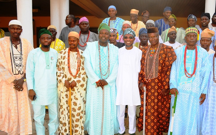Governor State of Osun, Ogbeni Rauf Aregbesola (3rd right); Commissioner for Local Governments and Chieftaincy Affairs, Barrister Kolapo Alimi (2nd left); Alademore of Ibokun, Oba Festus Awogboro (2nd right); Owamiran of Esa-Oke, Oba Adeyemi Adediran (4th left); Olomu of Ijaregbe,Oba Edward Adetimo (3rd left); Olotan of Otan-Ile, Oba Sunday Olatokun (right) and others, during a Courtesy Visit by the Ijesa North Traditional Council to the Governor in Government House, Osogbo, State of Osun on Thursday 20-03-2014