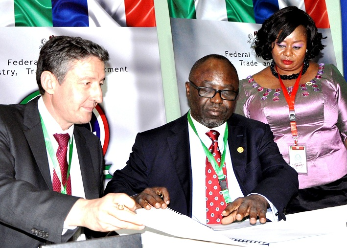 President of France-1  From left, Chief Executive Officer of Vergnet Group, France, Mr. Jerome Douat and Director General, Economic Development and Partnership, State of Osun, Dr, Charles Akinola, at the signing of memorandum of Understanding (MoU) on power generation with the Vergnet Group of France in Abuja, at the weekend