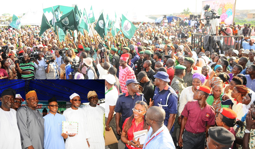 Cross Section of Delegates at the governorship primaries where Governor Rauf Aregbsola emerged the candidate of the All Progressive Congress, held at Nelson Mandela Freedom Park, Osogbo, State of Osun. Inset is---From left, Senator Bayo Salami; Speaker Osun State house of Assembly, Hon Najeem Salam; Former Federal Capital Territory Minister/Chairman, All Peoples Congress in Osun Governorship Primaries Election, Mallam Nasir El-Rufai;Governor Rauf Aregbesola and State Chairman of APC, Elder Adelowo Adebiyi on Saturday 12-04-2014