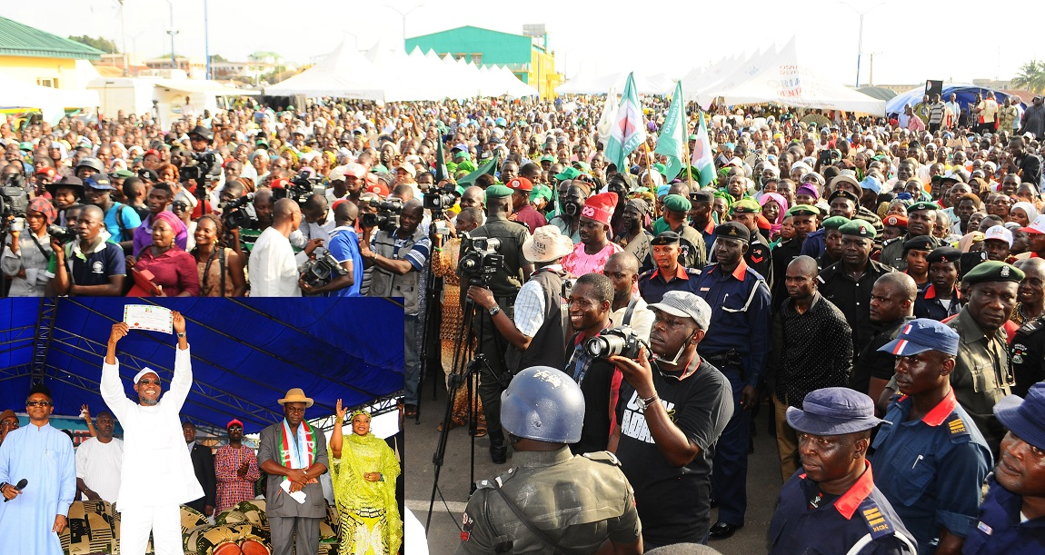 Cross Section of Delegates at the governorship primaries where Governor Rauf Aregbsola emerged the candidate of the All Progressive Congress, held at Nelson Mandela Freedom Park, Osogbo, State of Osun Inset is---Governor State of Osun, Ogbeni Rauf Aregbesola (2nd left) displaying his Certificate of Return, after his emergence as Governorship candidate of the All Progressives Congress (APC) through the Party's Primaries Election,  With him are, Chairman, State of Osun APC Primary Nomination Committee, Mallam Nasir El-Rufai (left); Secretary of the Committee, Sir Emeka Akamukali (2nd right); Member, Hajiya Ramatu Aliyu (right) and others on Saturday 12-04-2014