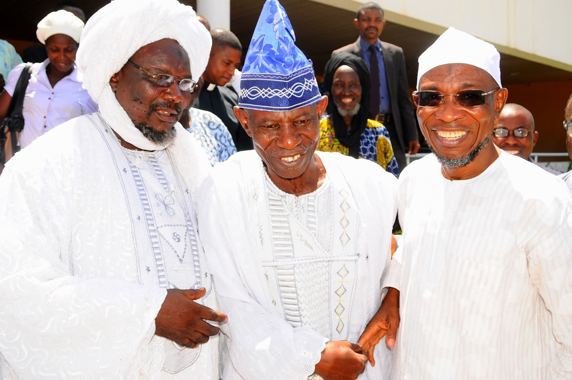 From right, Governor State of Osun, Ogbeni Rauf Aregbesola; Chairman, Christian Association of Nigeria (CAN) Ife South Local Government Area, Pastor John Oladimeji and President, League of Imams and Alfas, Ife South LGA, Alhaji Soliu Alesinloye, during a Solidarity Visit by Muslimss and Christians Leaders in Ife South Local Government areas to the Governor in Osogbo, State of Osun on Thursday 10-04-2014