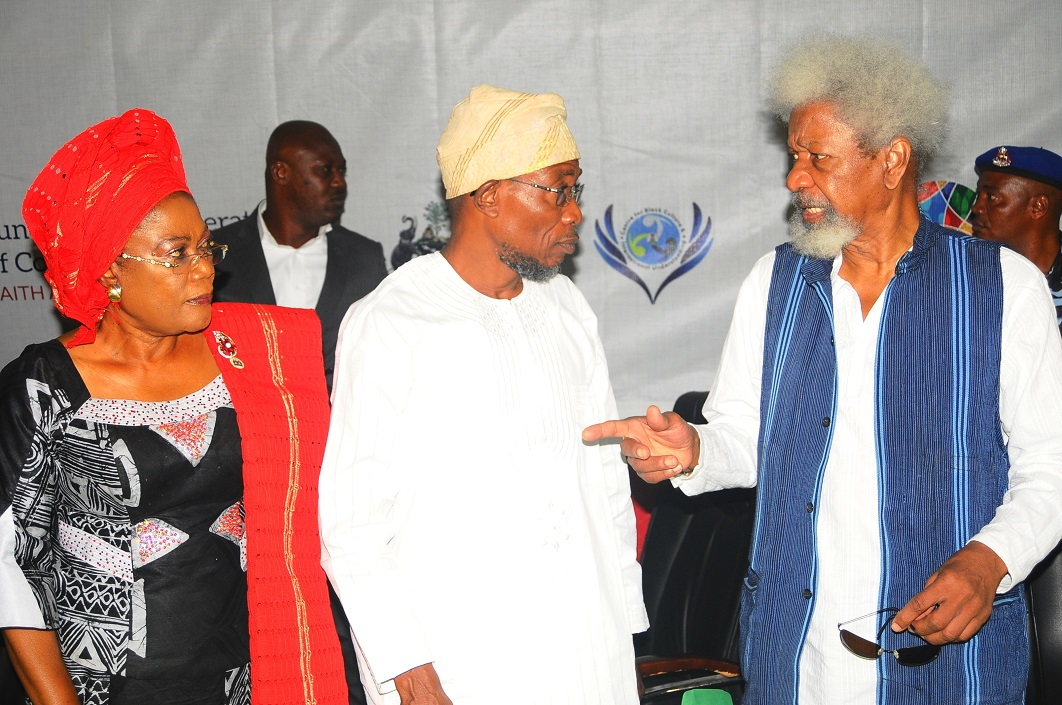 From left, Deputy Governor State of Osun, Mrs Titi Laoye-Tomori; Governor, Ogbeni Rauf Aregbesola and Chairman, Centre for Black Culture and International Understanding (CBCIU), Professor Wole Soyinka, during the Opening Ceremony of All-Comers Colloquium tagged:- Fundamental Imperatives of Cohabitation: Faith and Secularism, at the CBCIU Auditorium, Abere, Osogbo, State of Osun