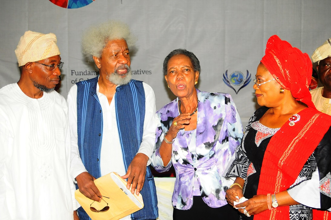 From left, Governor State of Osun, Ogbeni Rauf Aregbesola; Chairman, Centre for Black Culture and International Understanding (CBCIU), Professor Wole Soyinka; Director, Development Policy Centre, Ibadan, Professor Bimpe Aboyade and Deputy Governor, Mrs Titi Laoye-Tomori, during the Opening Ceremony of All-Comers Colloquium tagged:- Fundamental Imperatives of Cohabitation: Faith and Secularism, at the CBCIU Auditorium, Abere, Osogbo, State of Osun