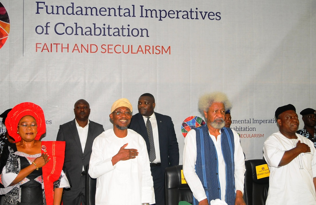 From left, Deputy Governor State of Osun, Mrs Titi Laoye-Tomori; Governor, Ogbeni Rauf Aregbesola; Chairman, Centre for Black Culture and International Understanding (CBCIU), Professor Wole Soyinka and Deputy Speaker, State Assembly of Osun, Honourable Akintunde Adegboye, during the Opening Ceremony of All-Comers Colloquium tagged:- Fundamental Imperatives of Cohabitation: Faith and Secularism, at the CBCIU Auditorium, Abere, Osogbo, State of Osun
