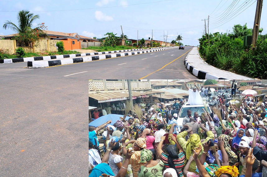 One of the 21 selected roads (26.40km) in Osogbo Township in the State of Osun newly commissioned on Monday 28-04-2014. Inset: Governor State of Osun, Ogbeni Rauf Aregbesola acknowledging cheers from the crowd during the commissioning.