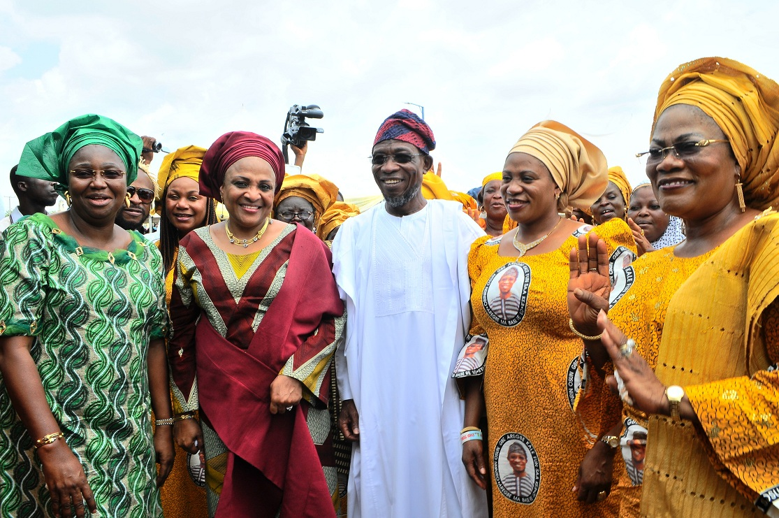 From left, Wife of Lagos State Governor, Mrs Abimbola Fashola; her Oyo counterpart, Mrs Florence Ajimobi; Governor Rauf Aregbesola; his wife, Sherifat; Osun Deputy governor, Mrs titi Laoye-Tomori and others, during the official launching of Osun/Grooming Assisted Women Empowerment Programme and Distribution of N600Million Micro Credit to 18,000 women beneficiaries, held at Mandela Freedom Park, Osogbo, State of Osun on Tuesday 30-04-2014