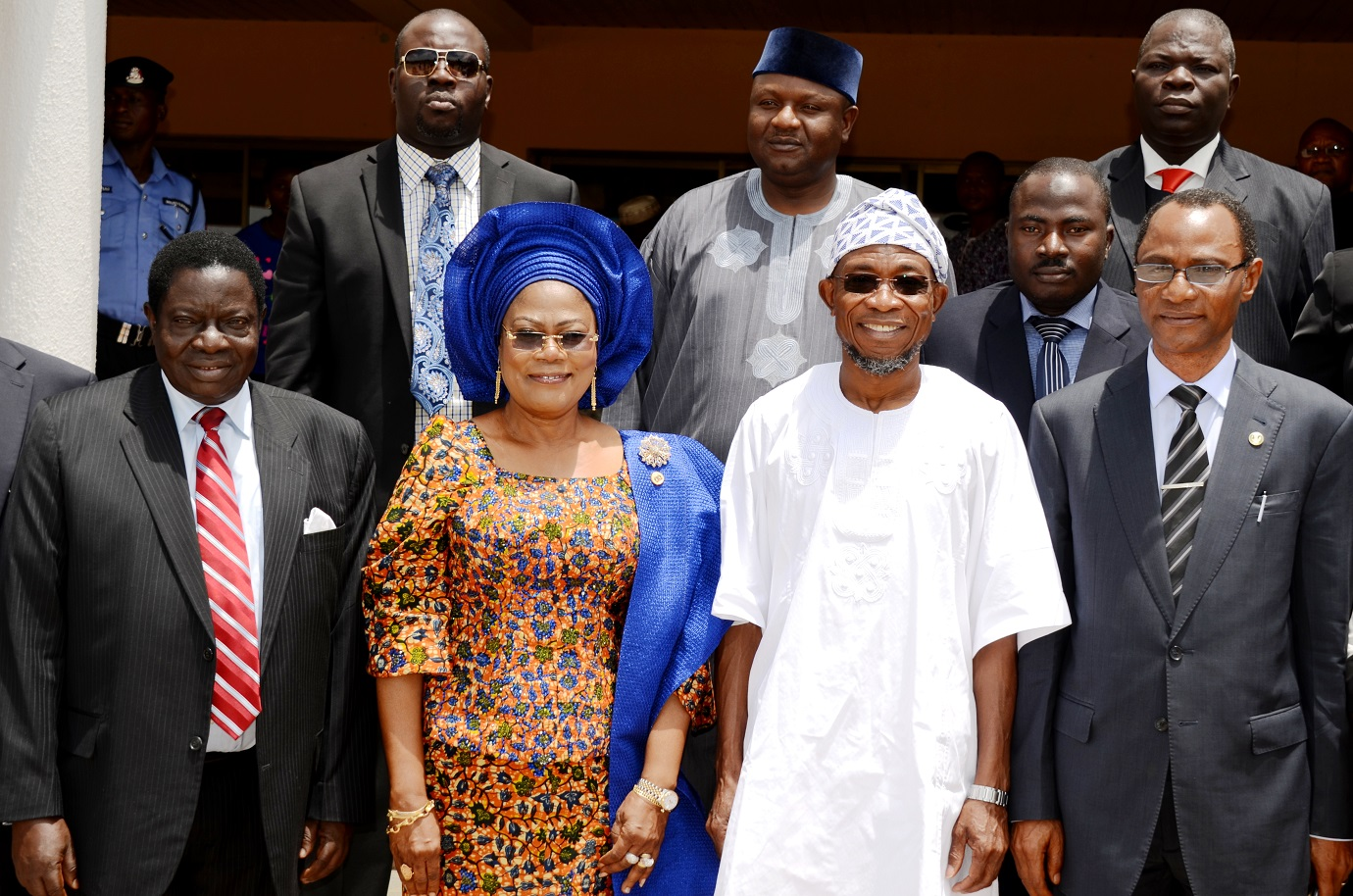 Governor State of Osun, Ogbeni Rauf Aregbesola (2nd right); his Deputy, Mrs Titi Laoye-Tomori (2nd left); Representative, State of Osun Chief Judge,  Honourable Justice Adebisi Ogunlade (left); Newly Sworn-in Chairman, Commission of Inquiry on Disturbance of Public Peace, Justice Adekunle Adeigbe (right) and others, during the Inauguration of the Commission, at Government House, Osogbo, State of Osun on Thursday 15-05-2014