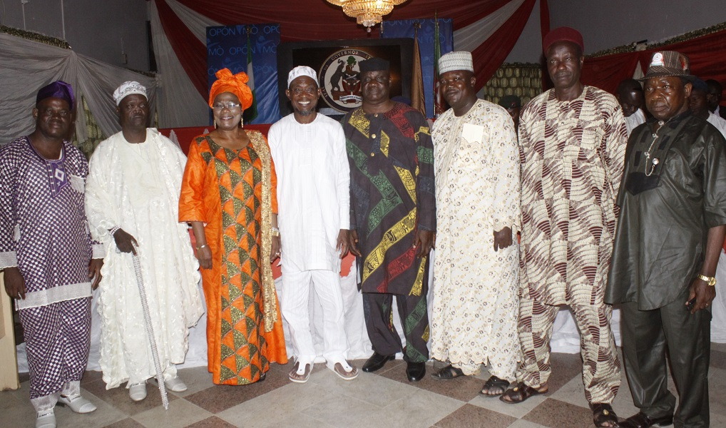 Governor State of Osun, Ogbeni Rauf Aregbesola ( 4th left); Chairman National Union Of Road Transport Workers ((NURTW), State of Osun, ,Alhaji Isiaka Afolabi (4th right); Deputy Governor, Mrs Titi Laoye Tomori (3rd Left); Patron of the Union, Oba Rasaki Aluko (2nd left); NURTW Deputy, Comrade Taiwo Shitu. (left); NURTW Alhaji Abdulasisi Najimu (3rd Right); 2nd Vice Chairman, Alhaji Ibrahim Sulaman (2nd righ), 1st Vice Chairman, Alhaji Lateef Akanji (right ).during a dinner organised for NURTW members, at Government House, Osogbo, State of Osun