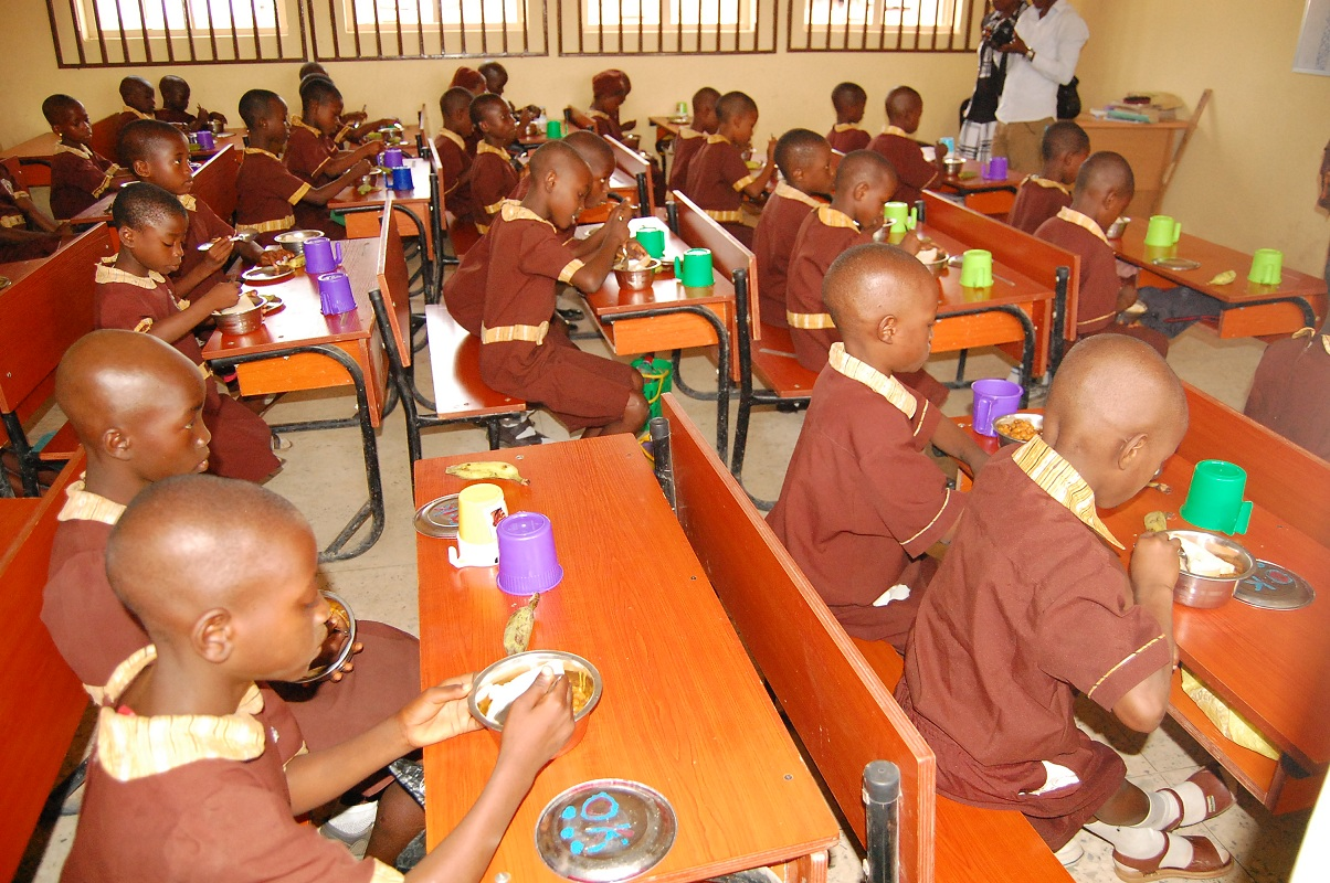 A cross section of Pupils of AUD Government Elementary School, Isale Osun, Osogbo, eating break fast, during the opening of 3 Day Technical Meeting on Osun Elementary School Feeding and Health Programme (O-Meals), held at Center for Black Culture and International Understanding, Abere, Osogbo, State of Osun on Wednesday 21-05-2014