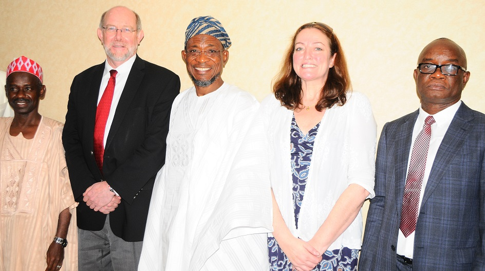 Guest Lecturer/Governor State of Osun, Ogbeni Rauf Aregbesola(middle); Executive Director, Partnership for Child Development (PCD), Lesley Draice (2nd right) Permanent Secretary Federal Ministry of Education, Dr. Macjohn Nwaobiala (right), World Bank Representative, Prof. Don Bundy(2nd left) and Representative of Kano State Governor, Commissioner for education, Alhaji Tajudeen Ganbo at the Technical Workshop on Home Grown School Feeding programmes, at Transcorp Hilton hotels Abuja on Monday 19-05-2014.