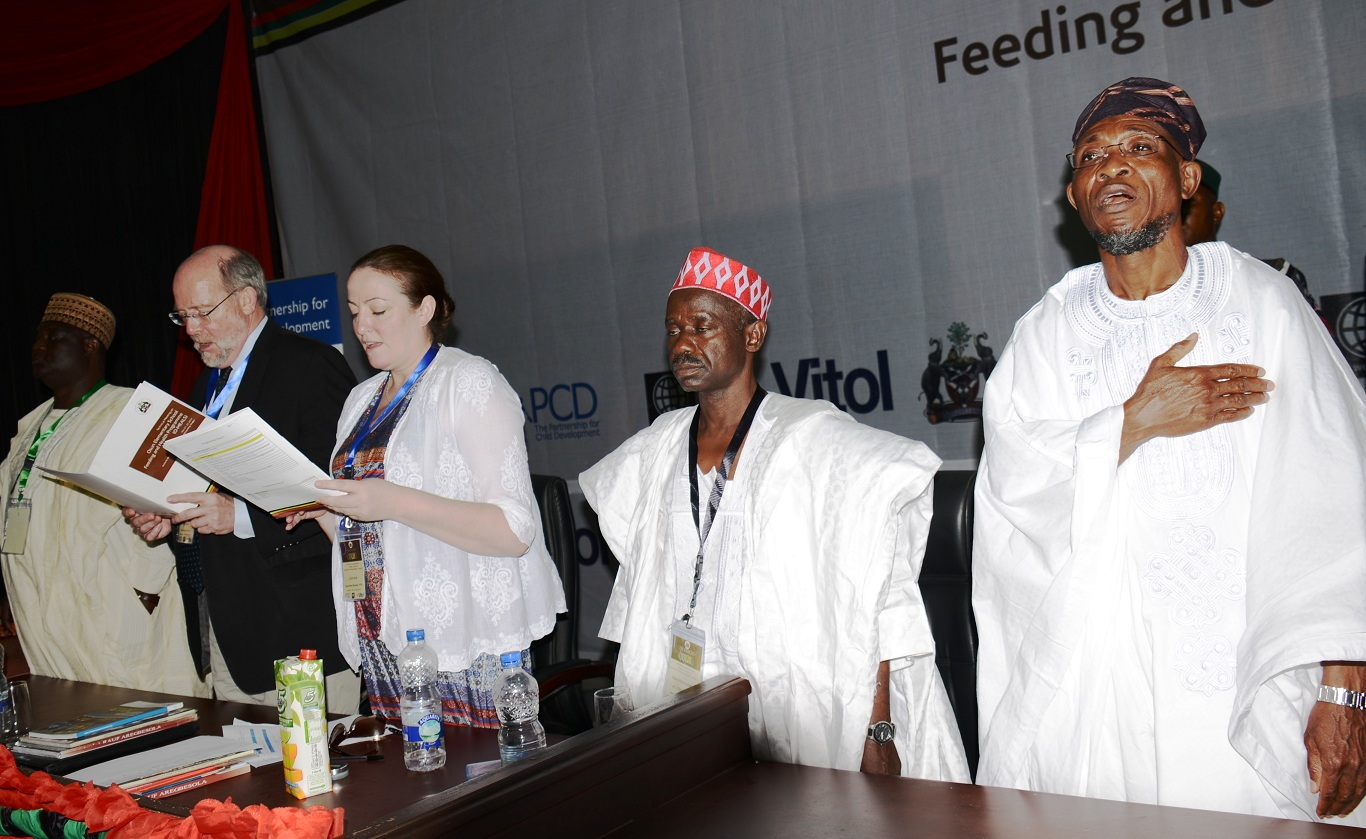 From right, Governor State of Osun, Ogbeni Rauf Aregbesola; Representative of Kano State Governor, Alhaji Tajudeen Gambo; Executive Director, Partnership for Child Development Imperial College London, Uk, Dr (Mrs) Lesley Drake; World Bank representative, Prof Don Bondy and Deputy Executive Secretry, Universal Basic Education Commission, Yakubu Gambo, at the opening of 3 Day Technical Meeting on Osun Elementary. School Feeding and Health Programme (O-Meals), held at Center for Black Culture and International Understanding, Abere, Osogbo, State of Osun on Thursday 22-05-2014