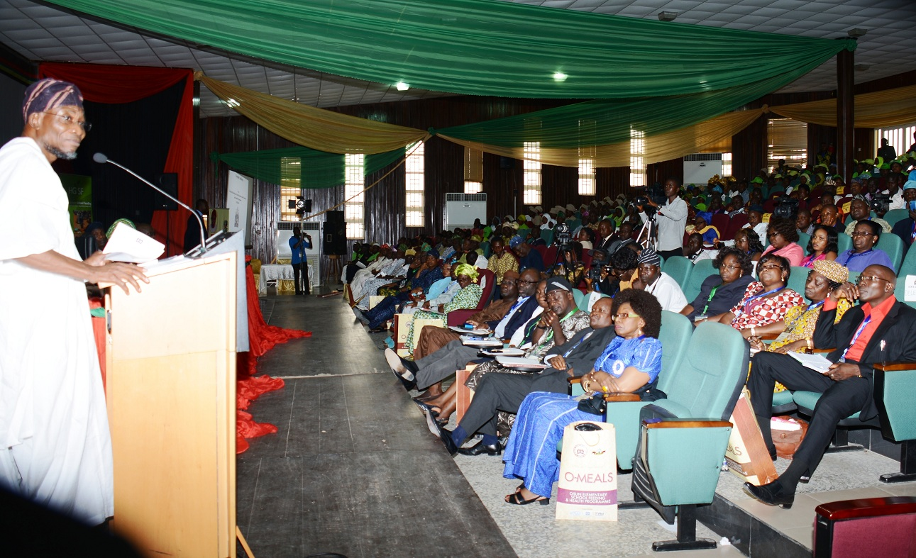 Governor State of Osun, Ogbeni Rauf Aregbesola,declaring open the 3 Day Technical Meeting on Osun Elementary School Feeding and Health Programme (O-Meals), held at Center for Black Culture and International Understanding, Abere, Osogbo, State of Osun on Thursday 22-05-2014
