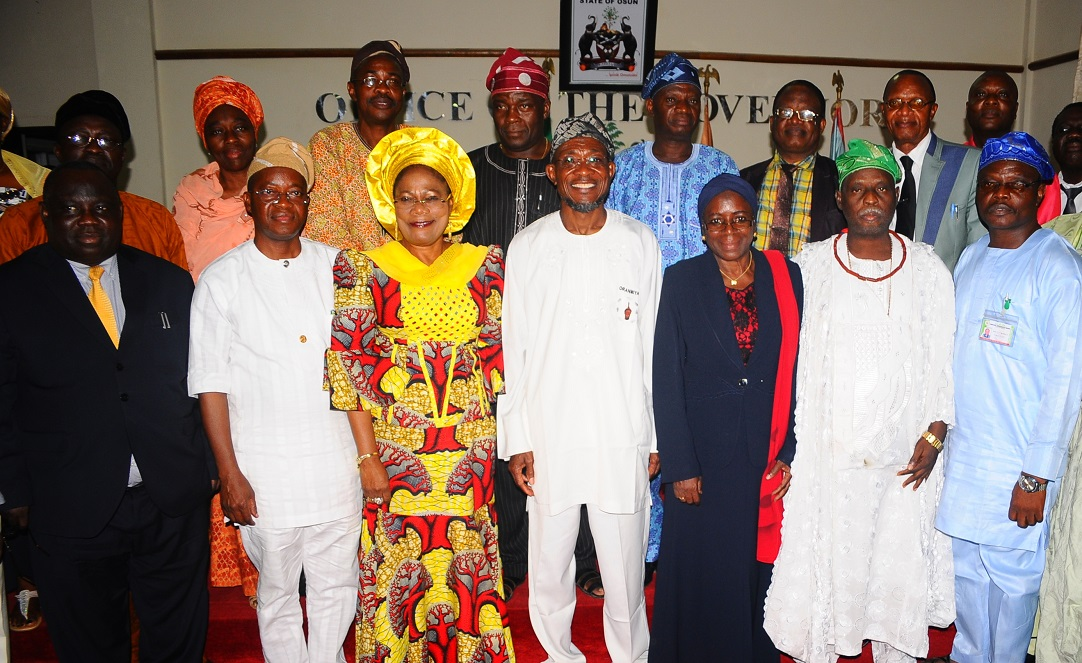 Governor State of Osun, Ogbeni Rauf Aregbesola (centre); his Deputy, Mrs Titi Laoye-Tomori (3rd left); Chief of Staff to the Governor, Alhaji Gboyega Oyetola (2nd left); Chairperson, Special Committee on Discipline in Osun Public Schools, Alhaja Mulikat Bello (3rd right); Permanent Secretary Ministry of Education, Mr Lawrence Oyeniran (left); Members of Committee, Chief Idowu Awopetu (2nd right); Chairman, Osun Christian Association of Nigeria (OSCAN), Evangelist Elisha Ogundiya (right) and others, during the submission of the Committee's Report to the Governor in his Office, Osogbo, State of Osun on Tuesday 13-05-2014