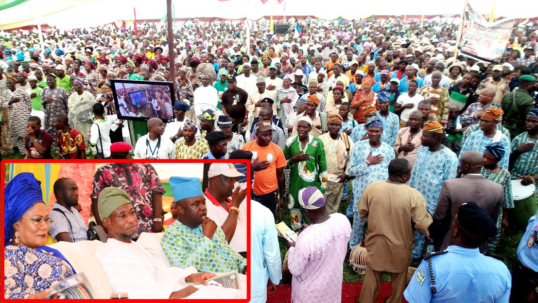 Mammoth Crowd, during the 8th Edotion of an Interactive Public Feedback Programme tagged: 'Gbangba D'ekun' in Ijesa North Federal Constituency at Ijesa-Jesa High School, Ijebu-Jesa, State of Osun. Insert: From left, Deputy Governor State of Osun, Mrs Titi Laoye-Tomori; Governor Rauf Aregbesola; Member National Assembly, Representing Osun East Senatorial District, Senator Babajide Omoworare and Member, House of Representatives, Honourable Nathaniel Agunbiade, on Thursday 26-06-2014