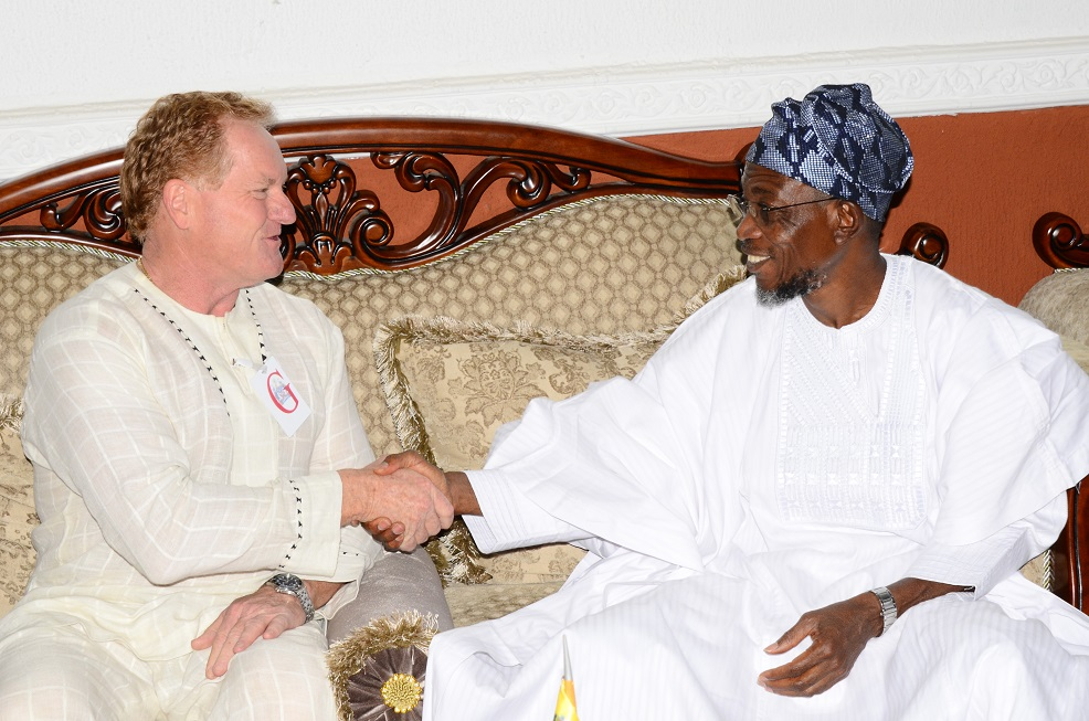 Governor State of Osun, Ogbeni Rauf Aregbesola (right) with Project Manager, Andalusian Mining Limited, Perth Western Australia, Colin Miller, during the Company's Visit to the Governor in Government House, Osogbo, State of Osun on Friday 27-06-2014