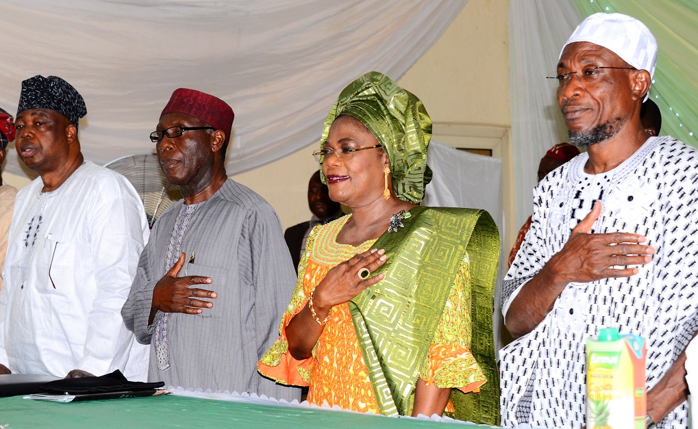 From right, Governor State of Osun, Ogbeni Rauf Aregbesola; his Deputy, Mrs Titi Laoye-Tomori; Chairman of the Occasion, Chief Audu Ogbeh and Chairman TUNS Group, Asiwaju Tunde Badmus, during an Annual Seminar for Osun Broiler Out-Growers' Production Scheme (OBOPS) and presentation of cheque to the Association by the governor at Royal Spring Holiday Inn, Osogbo, State of Osun on Thursday 12-06-2014