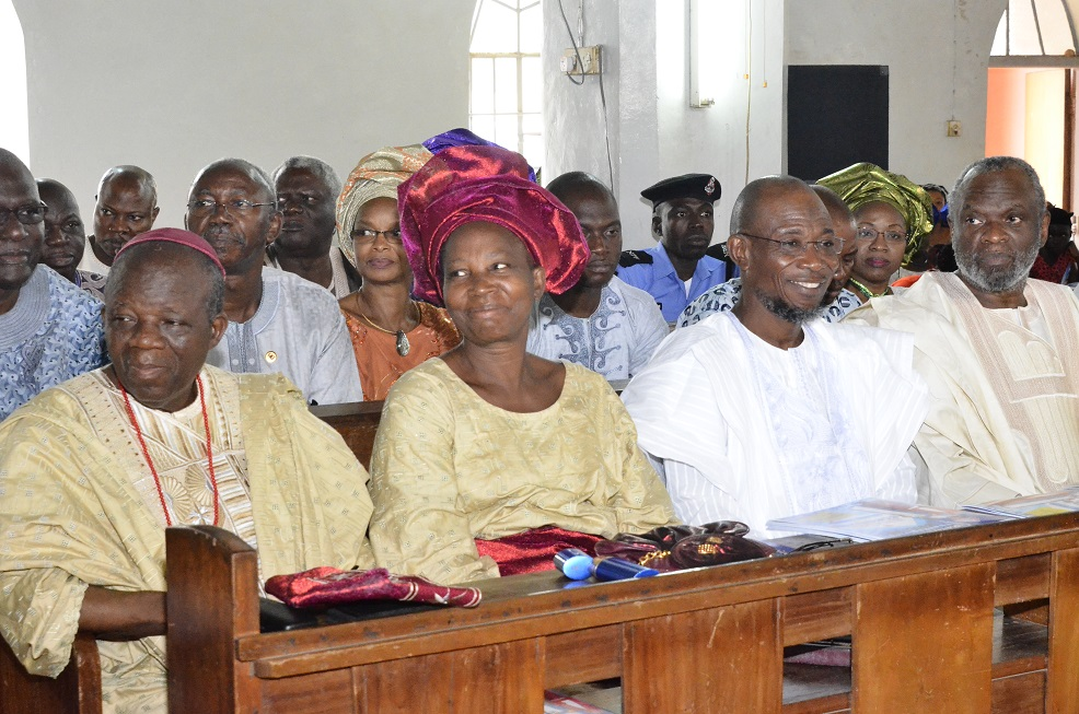 From right - Senator representing Osun Central Senatorial District, Senator Sola Adeyeye, Governor State of Osun, Ogbeni Rauf Aregbesola, Rt. Reverend John Bamgboye and his wife Mrs. Janet Monisola Bamgboye  during the retirement thanksgiving service of reverend John Bamgboye at Methodist Church, Isale –Aro, Osogbo on Sunday 20/07/2014.