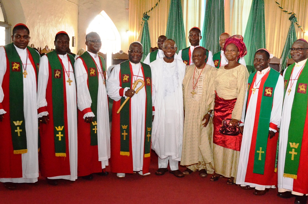 Rt. Reverend Dr. Michael Uche(4th left), Governor State of Osun, Ogbeni Rauf Aregbesola(5th left), Reverend John Bamgboye (4th right) and his wife Mrs. Janet Monisola Bamgboye(3rd right) and others during the retirement thanksgiving service of reverend John Bamgboye at Methodist Church, Isale –Aro, Osogbo on Sunday 20/07/2014.