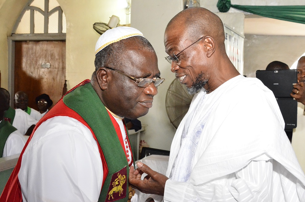 Governor State of Osun, Ogbeni Rauf Aregbesola and Rt. Reverend, Dr. Michael Uche during the retirement thanksgiving service of reverend John Bamgboye at Methodist Church, Isale –Aro, Osogbo on Sunday 20/07/2014.