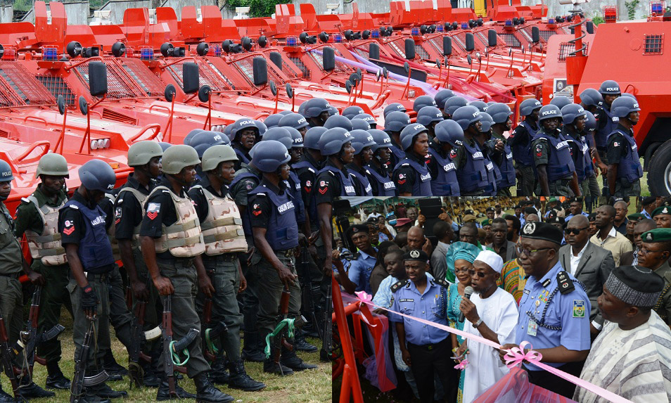 Cross section of the newly commissioned Amoured Personnel Carrier distributed to the State security officers by the Administration of Governor Rauf Aregbesola. Insert: Governor State of Osun, Ogbeni Rauf Aregbesola (Middle in white); his deputy, Mrs Titi Laoye_Tomori; Speaker of the House of Assembly, Hon. Najeem Salam (left); Assistant Inspector General of Police (AIG) Zone 11, Mr David Omolaja (2nd left); Osun Commissioner of Police, Mr.Maishanu Ibrahim (5th left); Special Adviser to the Governor on Security Matters, Barrister Amos Adekunle (6th left) and others during the commissioning in Osogbo, the State of Osun on Thursday 11-07-2014