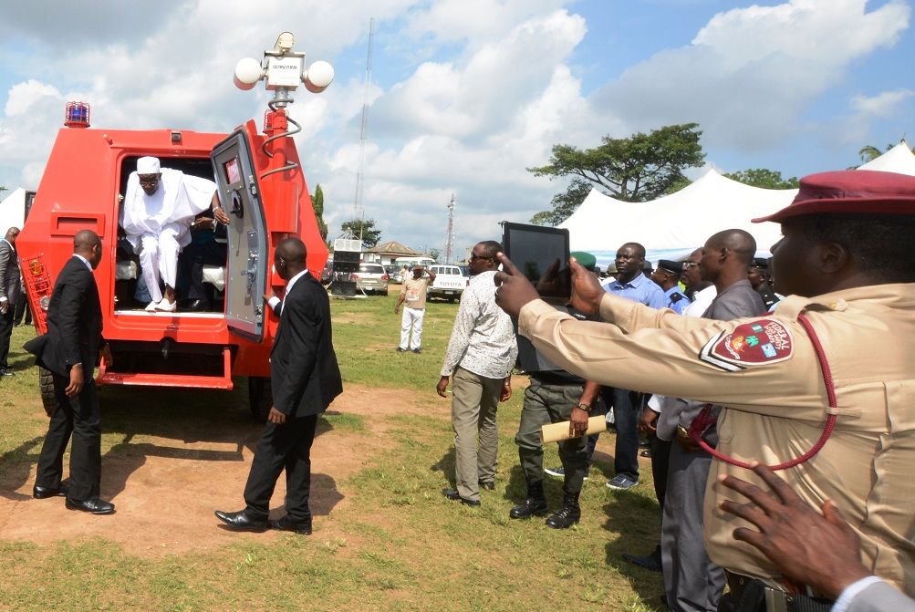 Governor State of Osun, Ogbeni Rauf Aregbesola after test driving one of the newly commissioned Amoured Personnel Carrier (APC) his Administration distributed to the State Security Personnel, during the commissioning in Osogbo, the State of Osun on Thursday 11-07-2014