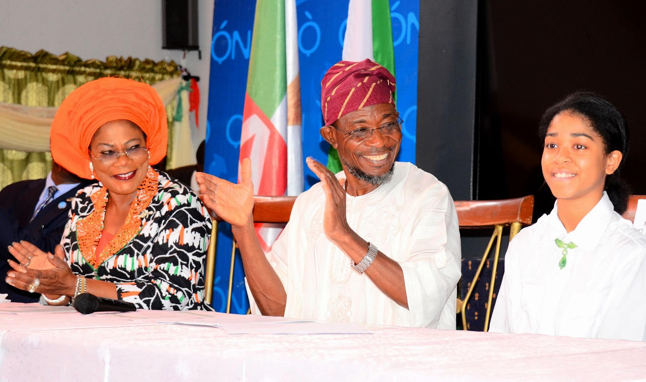 From left, Deputy Governor State of Osun, Mrs Titi Laoye-Tomori; Governor Rauf Aregbesola and Initiator, Dream up; Speak up & Stand up Project/International Ambassador on Child Education Development, Miss Zuriel Oduwole, during a Presentation of Award to Aregbesola as the Most Innovative Governor Supporting Education in Nigeria, at Government House Banquet Hall, Osogbo, State of Osun on Wednesday 02-07-2014