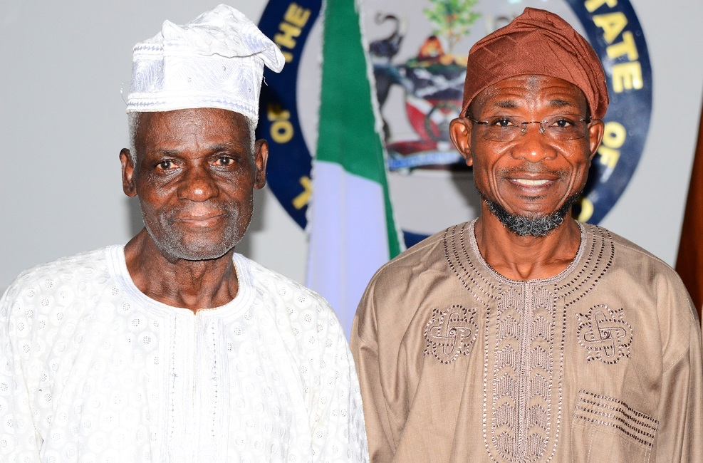 Governor State of Osun, Ogbeni Rauf Aregbesola (right) with Founder, Christ Apostolic Church, Mountain of Mercy, Orile-Agege, Lagos, Pastor Elijah Ajayi, during a Solidarity Visit to the Governor in Government House, Osogbo, State of Osun, during the weekend