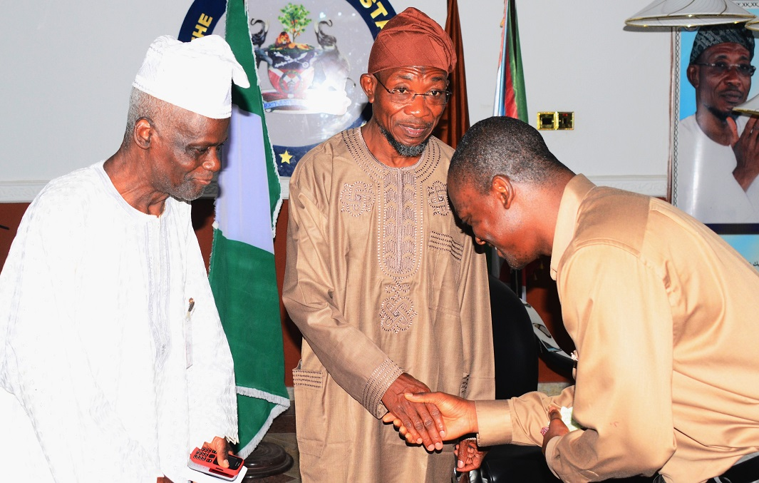 Governor State of Osun, Ogbeni Rauf Aregbesola (middle); Founder, Christ Apostolic Church (CAC), Mountain of Mercy, Orile-Agege, Lagos, Pastor Elijah Ajayi (left) and Senior Pastor, CAC Mountain of Mercy, Harrisburg, USA, Pastor Sunday Ajayi (right), during a Solidarity Visit to the Governor in Government House, Osogbo, State of Osun, during the weekend