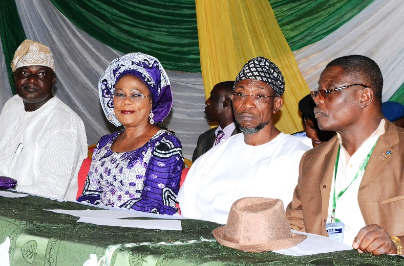 From right, Chairman, Christian Association of Nigeria (CAN), Osun Chapter, Reverend Elijah Ogundiya; Governor State of Osun, Ogbeni Rauf Aregbesola; his Deputy, Mrs Titi Laoye-Tomori and Chairman, All Progressives Congress (APC), Osun Chapter, Elder Adelowo Adebiyi, during an Interaction with the Governor on his Second Term Ambition in the 2014 Gubernatorial Election, at CAN Secretariat, Owode-Ede, State of Osun on Monday 30-06-2014