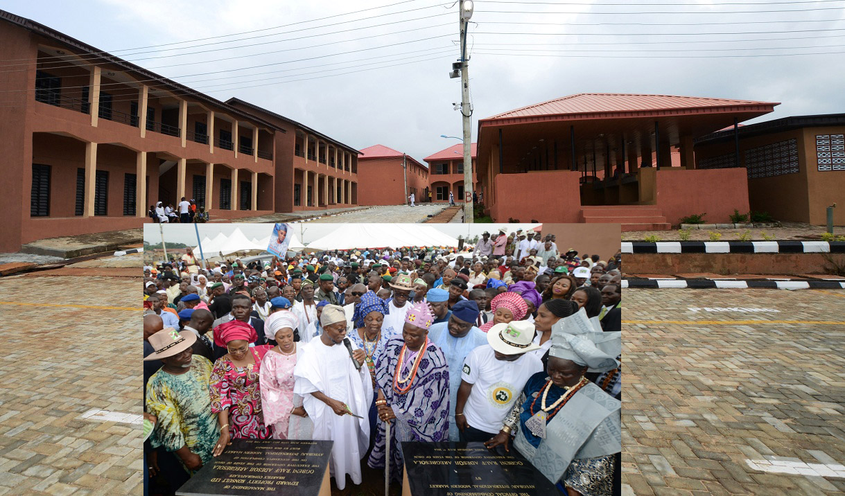 A section of the newly commissioned Ayegbaju International Modern Market in Osogbo. Insert: From left, Deputy Speaker, Osun House of Assembly, Honourable Akintunde Adegboye; Deputy Governor, Mrs Titi Loaye-Tomori; Wife of the Governor, Sherifat Aregbesola; Governor Rauf Aregbesola; Iyalode of Osogboland, Mrs Alake Kolade; Ataoja of Osogboland, Oba Jimoh Olanipekun; Executive Secretary, Osogbo Local Government, Mr Isiaka Faramade; Developer/Managing Director, Edward Property Konsult, Engineer Femi Oshoniyi; Iyaloja of Osogboland, Mrs Awawu Asindemade; Commissioner for Regional Integration and Special Duties, Honourable Basiru Ajibola (middle, with hat) and others, during the Official Commissioning Ceremony of the Market in Osogbo, State of Osun on Monday 07-07-2014