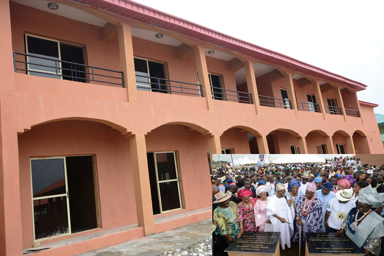 A section of the newly commissioned Ayegbaju International Modern Market in Osogbo.  Insert: From left, Deputy Speaker, Osun House of Assembly, Honourable Akintunde Adegboye; Deputy Governor, Mrs Titi Loaye-Tomori; Wife of the Governor, Sherifat Aregbesola; Governor Rauf Aregbesola; Iyalode of Osogboland, Mrs Alake Kolade; Ataoja of Osogboland, Oba Jimoh Olanipekun; Executive Secretary, Osogbo Local Government, Mr Isiaka Faramade; Developer/Managing Director, Edward Property Konsult, Engineer Femi Oshoniyi; Iyaloja of Osogboland, Mrs Awawu Asindemade; Commissioner for Regional Integration and Special Duties, Honourable Basiru Ajibola (middle, with hat) and others, during the Commissioning Ceremony of the Market in Osogbo, State of Osun on Monday 07-07-2014
