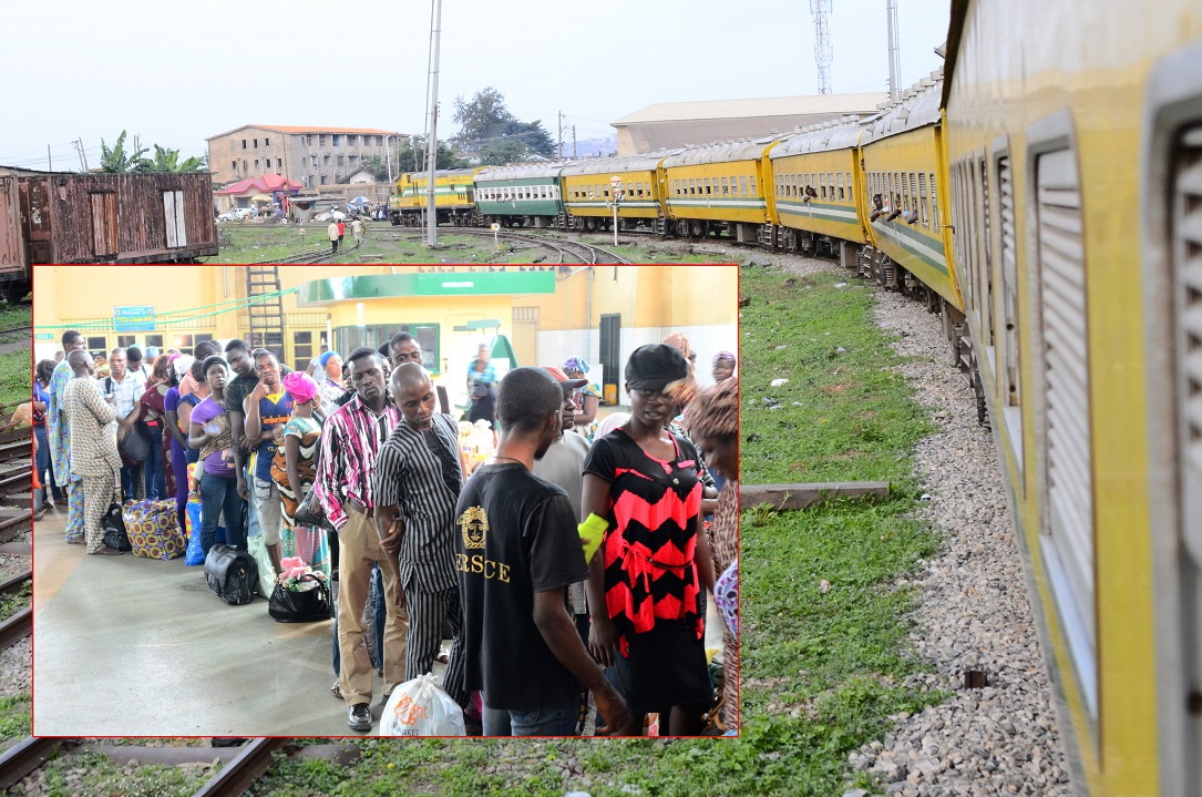The Omoluabi Free Train Ride offered by Governor Rauf Aregbesola for this Year's Eid-Ul-Fitri Celebration at Iddo Terminus, Lagos State. Insert: Indigenes and non-indigenes of Osun on queue to board the Free Train Ride on Saturday 26-07-2014
