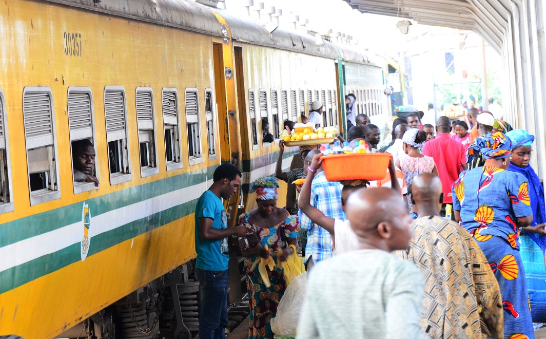 Indigenes and non-indigenes of Osun rushing to board the Omoluabi Free Train Ride offered by Governor Rauf Aregbesola for this Year's Eid-Ul-Fitri Celebration at Iddo Terminus, Lagos State on Saturday 26-07-2014