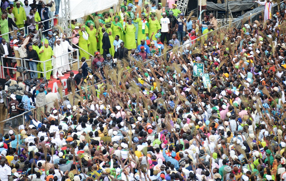 From Top left, First Civilian Governor of Osun, Senator Isiaka Adeleke; Governor State of Osun, Ogbeni Rauf Aregbesola; his Oyo State counterpart, Governor Abiola Ajimobi and others addressing the crowd during Aregbesola's Re-election Campaign at Unity School, Ejigbo, State of Osun on Monday 21-07-2014