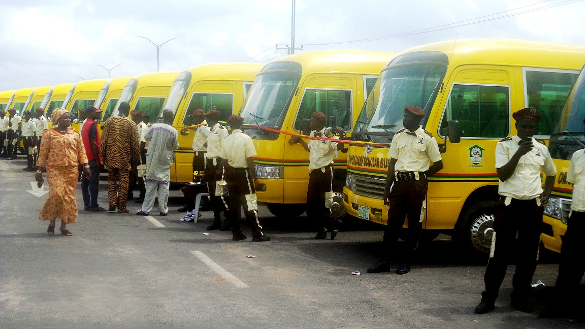 A cross section of the newly commissioned Omoluabi Scholar Buses for public Schools by the administration of Governor Aregbesola, during the commissioning at Nelson Mandela Freedom Park, Osogbo on Friday 18-07-2014