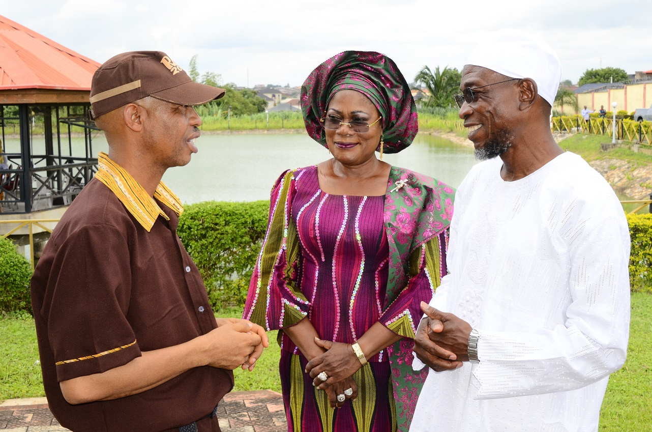 From right, Governor State of Osun, Ogbeni Rauf Aregbesola; his Deputy, Mrs Titi Laoye-Tomori and Nollywood Comic Actor, Mr Hafiz Oyetoro also known as Saka, during his Courtesy Visit to the Governor in Osogbo, State of Osun on Thursday 03-07-2014