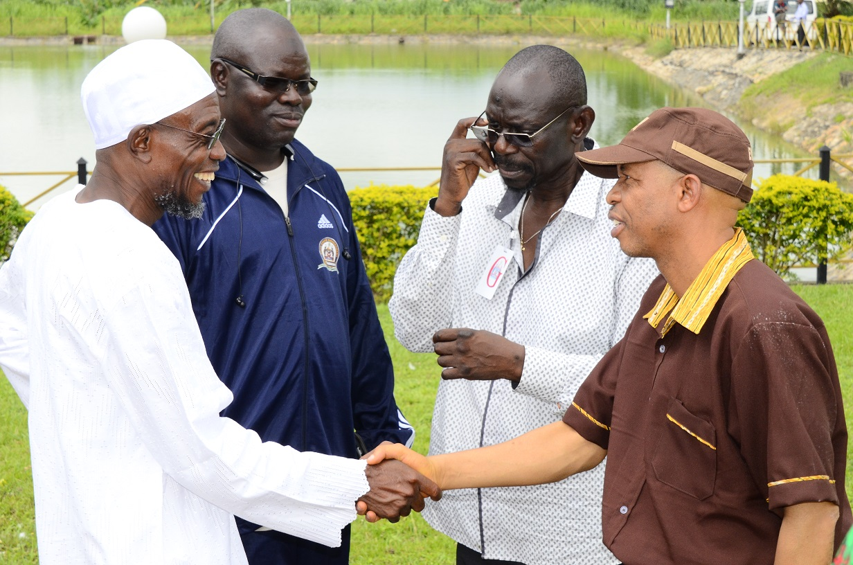 From left, Governor State of Osun, Ogbeni Rauf Aregbesola; Director, Bureau of Communications and Strategy, Mr Semiu Okanlawon; Chief Executive Officer, Dudu Productions, Mr Tunde Alabi-hundeyin and Nollywood Comic Actor, Mr Hafiz Oyetoro also known as Saka, during a Courtesy Visit to the Governor in Osogbo, State of Osun on Thursday 03-07-2014