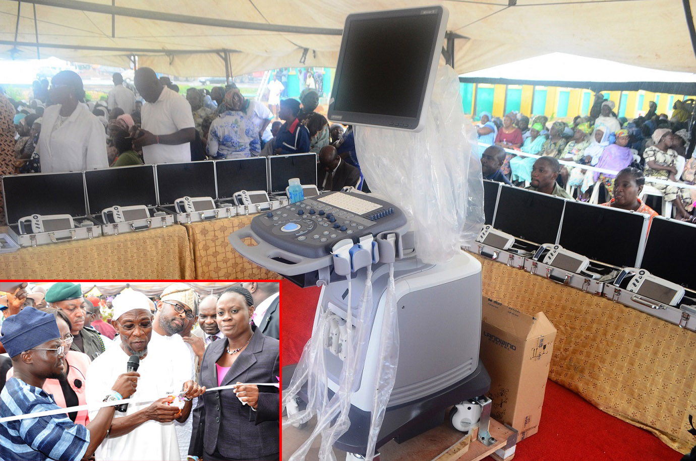 The newly Commissioned Hand-held Ultrasound Diagnostic (Touch Screen) Scanners and Mirror 3D (colour) Doppler Ultrasound Diagnostic Scanner distributed to State hospitals in Osun at Nelson Mandela Freedom Park, Osogbo, State of Osun. Insert: From right, Commissioner for Health, Dr Temitope Ilori; Governor State of Osun, Ogbeni Rauf Aregbesola; Special Adviser for Health, Dr Rafiu Isamotu and others on Thursday 17-07-2014