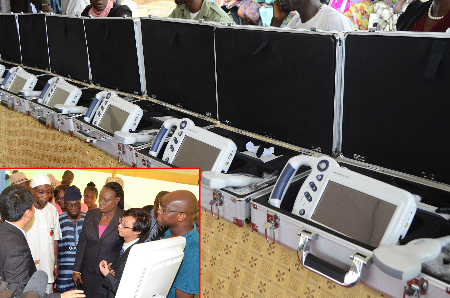 The newly Commissioned Hand-held Ultrasound Diagnostic (Touch Screen) Scanners and Mirror 3D (colour) Doppler Ultrasound Diagnostic Scanner distributed to State hospitals in Osun at Nelson Mandela Freedom Park, Osogbo, State of Osun. Insert: From left, Sales Engineer, Landwind Medical, China, Jeffery Iv; Governor State of Osun, Ogbeni Rauf Aregbesola; Special Adviser for Health, Dr Rafiu Isamotu; Commissioner for Health, Dr Temitope Ilori; Dr Lei Hao and others on Thursday 17-07-2014