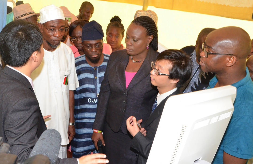 From left, Sales Engineer, Landwind Medical, China, Jeffery Iv; Governor State of Osun, Ogbeni Rauf Aregbesola; Special Adviser for Health, Dr Rafiu Isamotu; Commissioner for Health, Dr Temitope Ilori; Dr Lei Hao and others, during the Commissioning of Hand-held Ultrasound Diagnostic (Touch Screen) Scanners and Mirror 3D (colour) Doppler Ultrasound Diagnostic Scanner, at Nelson Mandela Freedom Park, Osogbo, State of Osun on Thursday 17-07-2014