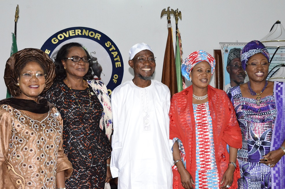 Deputy Governor State of Osun, Mrs Titi Laoye-Tomori; her Ekiti State Counterpart, Professor Modupe Adelabu; Governor State of Osun, Ogbeni Rauf Aregbesola; his wife, Sherifat and Wife of Ekiti State Governor, Erelu Bisi Fayemi, during a Congratulatory visit to Aregbesola over his Victory in the 2014 Gubernatorial Election at Government House, Osogbo