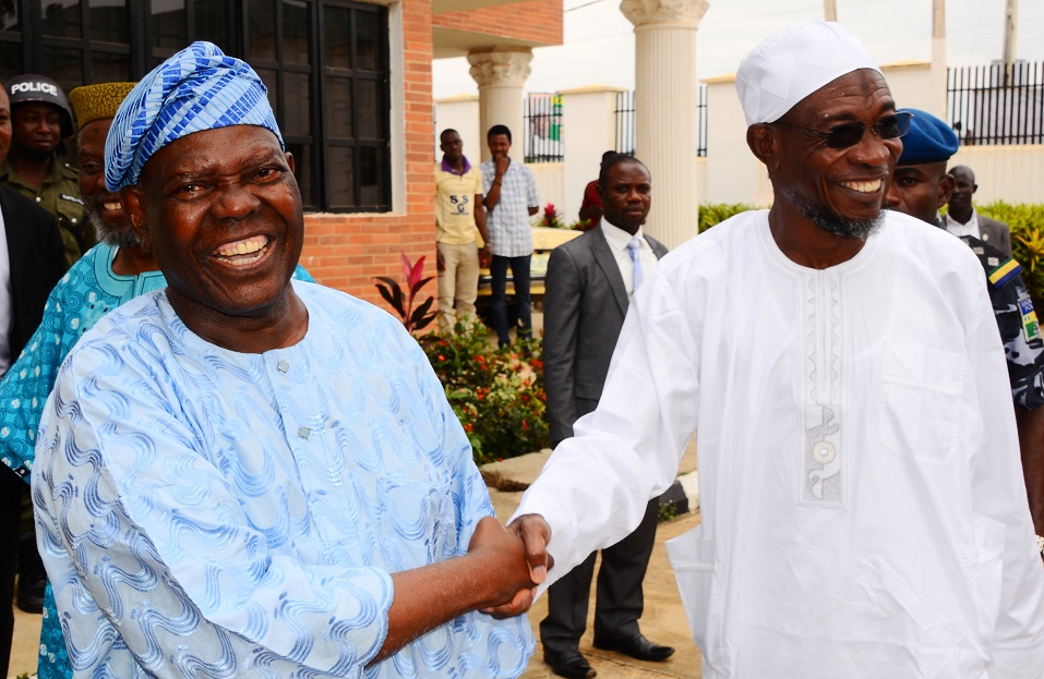 Former National Chairman, All progressives Congress (APC), Chief Bisi Akande (left) and Governor State of Osun, Ogbeni Rauf Aregbesola, during  the Governor's Visit to Akande in his residence, Ila-Orangun