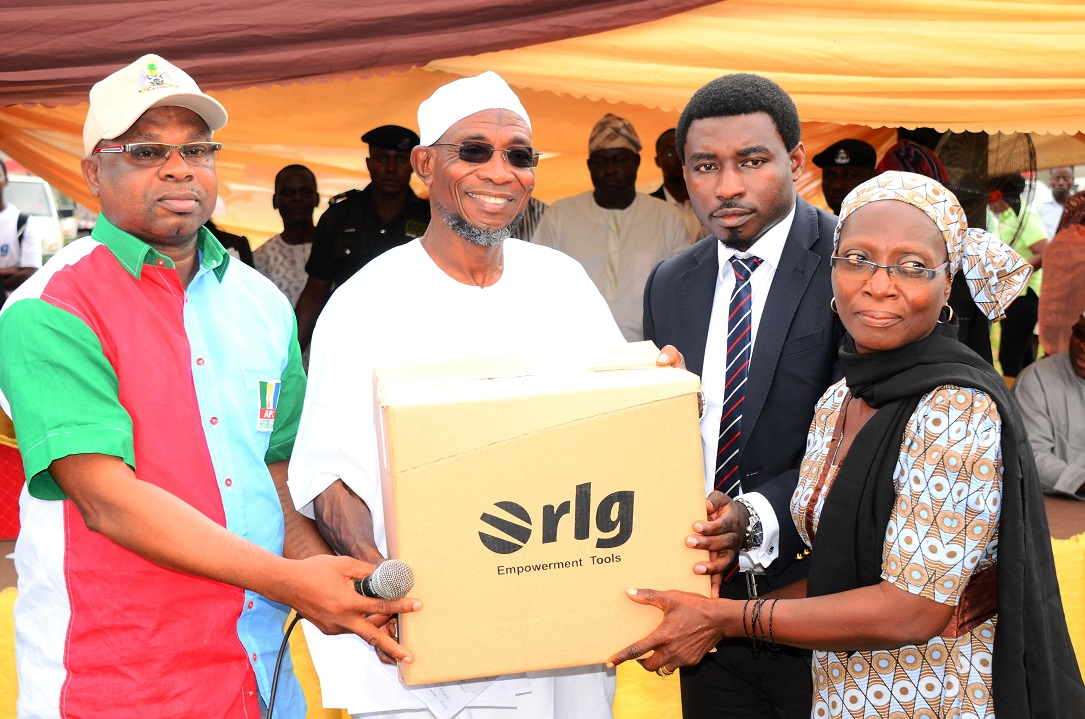 Governor State of Osun, Ogbeni Rauf Aregbesola (2nd left); Regional Director West/Central Africa, RLG Communications, Mr Tosin Ilesanmi (2nd right); Managing Director, Osun Investment Company Limited (OSICOL), Alhaji Bola Oyebamiji (left) and Mrs Lawal Rasidat (right), during the Official Launch of Osun Youth Empowerment Scheme-Technology (OYES-TECH) at Government House Lawn, Osogbo, State of Osun, during the weekend