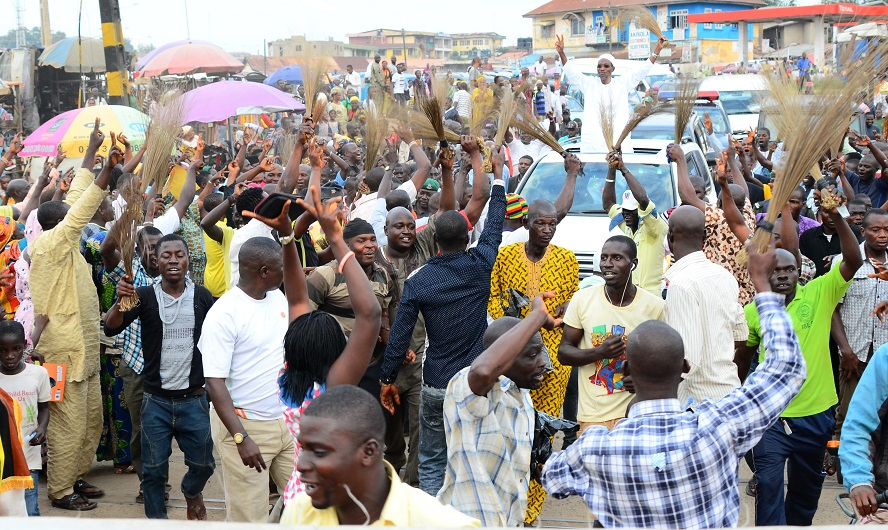 Governor State of Osun, Ogbeni Rauf Aregbesola acknowledging cheers from the Okada Riders, during the Distribution of 500 Motorcycles to Okada Riders in Osun and Endorsement of Aregbesola for Second Term in office at Nelson Mandela Freedom Park, Osogbo, State of Osun, during the weekend