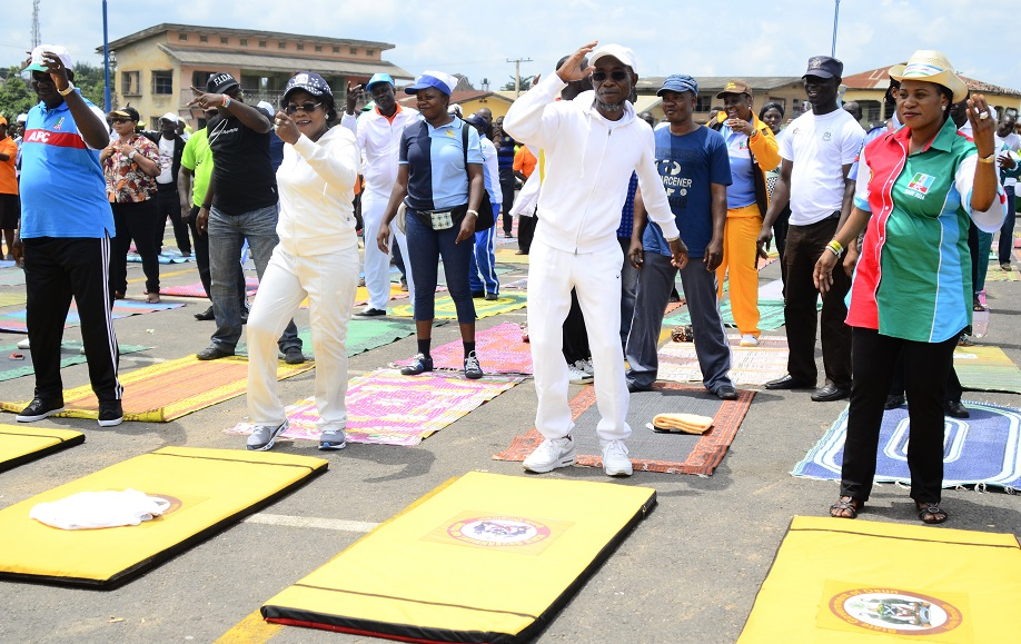 From left, Acting Chairman, All Progressives Congress (APC), Osun Chapter, Elder Adelowo Adebiyi; Deputy Governor, Mrs Titi Laoye-Tomori; Governor Rauf Aregbesola; his Wife, Sherifat and others, during the 16th Edition of the Walk to Live Exercise in Osogbo, State of Osun on Thursday 07-08-2014