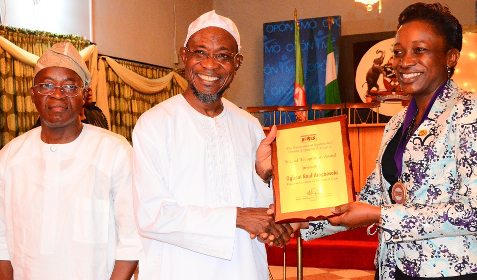 From left- Chief of Staff to the Governor, Alhaji Gboyega Oyetola; Governor State of Osun, Ogbeni Rauf Aregbesola and National President Association of Professional Women Engineers of Nigeria, Engineer(Mrs) Nnoli Akpedeye during a congratulatory visit to the governor on his victory in the August 9 th gubernatorial election held at government house, Osogbo on Wednesday 17/09/2014
