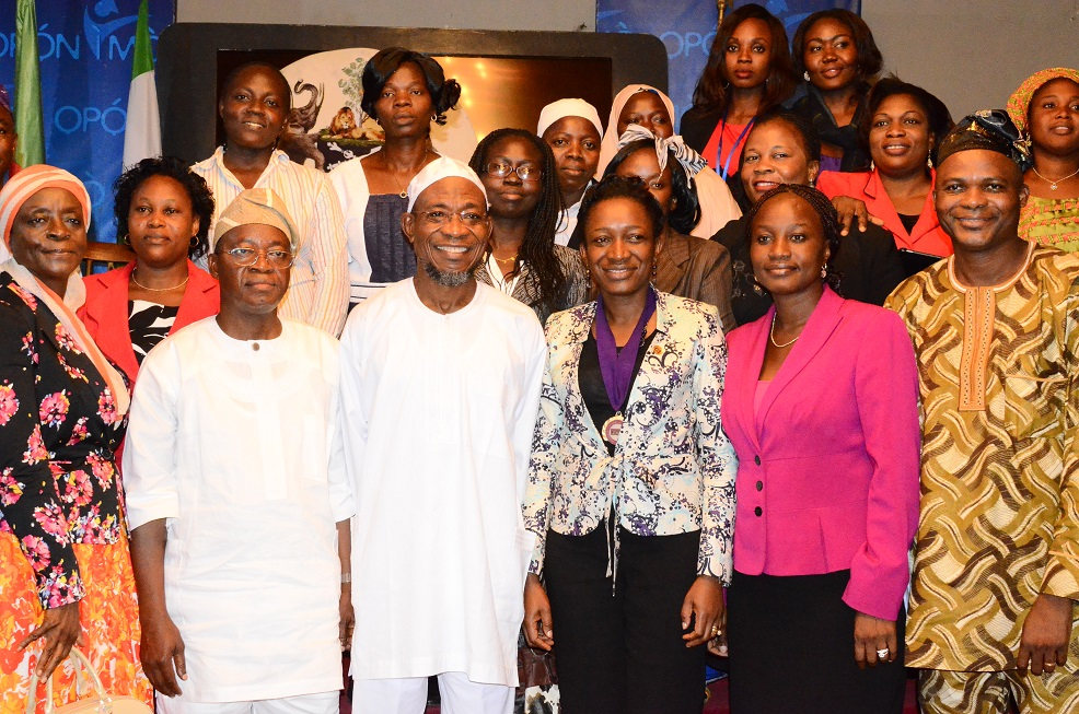 Governor State of Osun, Ogbeni Rauf Aregbesola (3rd left); Chief of Staff to the Governor, Alhaji Gboyega Oyetola (2nd left), Special Adviser to the on water resources, Engineer (Mrs) Tawakalitu Williams (left), National President Association of Professional Women Engineers of Nigeria, Engineer(Mrs) Nnoli Akpedeye (3rd right), Engineer (Mrs) Olayinka Abdul (2nd right) and Engineer Ibitoye Adeniran (right)  during a congratulatory visit to the governor on his victory in the August 9th gubernatorial election held at government house, Osogbo on Wednesday 17/09/2014