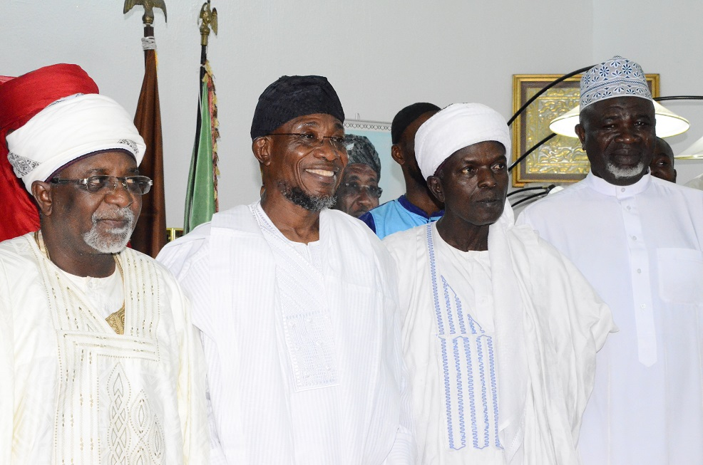 From left- Representative of Sultan of Sokoto, Alhaji Mallami Maccido (Ubandoma of Sokoto); Governor State of Osun, Ogbeni Rauf Aregbesola, Serikin Yorubawa of Sokoto, Alhaji Isiaka Usman and a member of the General Purpose Committee of the Supreme Council for Islamic Affairs, Alhaji Ishaq Kunle Sanni, during a condolence visit to the Governor on the death of President General, League of Imams and Alfas South-west including Edo and Delta States, Alhaji Sheik Mustapha Ajisafe, held at Government House, Osogbo on Saturday 13/09/2014